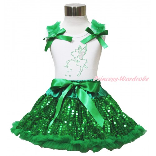 White Tank Top Kelly Green Ruffles & Bows & Sparkle Rhinestone Tinker Bell Print & Bling Kelly Green Sequins Pettiskirt MG1508