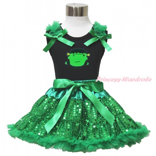 Halloween Black Tank Top Kelly Green Ruffles & Bows & Frankenstein Print & Bling Kelly Green Sequins Pettiskirt MG1511