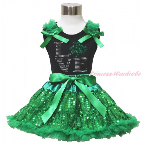 St Patrick's Day Black Tank Top Kelly Green Ruffles & Bows & Sparkle Rhinestone Love Clover Print & Bling Kelly Green Sequins Pettiskirt MG1512