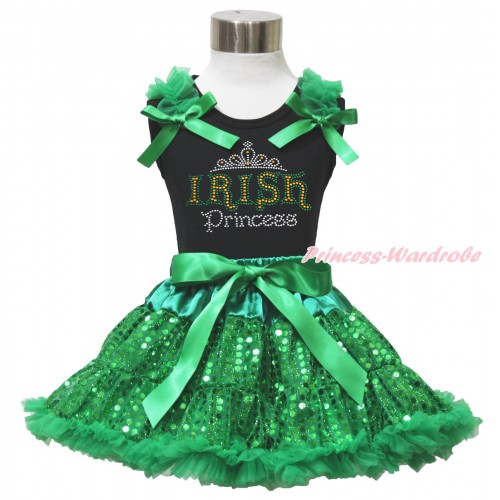 St Patrick's Day Black Tank Top Kelly Green Ruffles & Bows & Sparkle Rhinestone IRISH PrincessPrint & Bling Kelly Green Sequins Pettiskirt MG1514