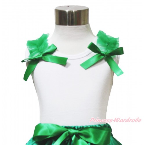 White Tank Top Kelly Green Ruffles & Bow TB1062