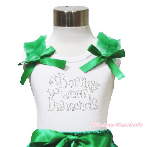 White Tank Top Kelly Green Ruffles & Bow & Sparkle Rhinestone Born to Wear Diamonds Print TB1064