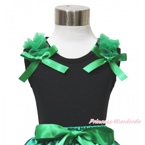 Black Tank Top Kelly Green Ruffles & Bow TB1065