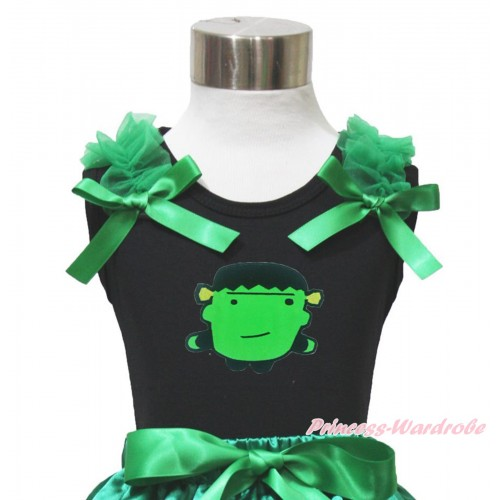 Halloween Black Tank Top Kelly Green Ruffles & Bow & Frankenstein Print TB1067