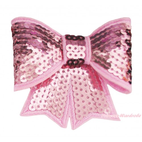 Light Pink Sparkle Bling Sequins Bow Hair Clip H1001