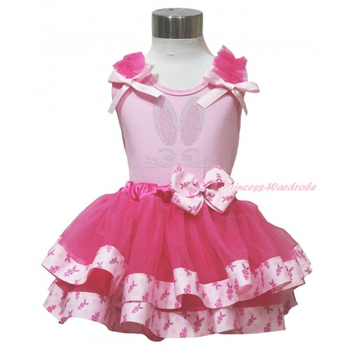 Easter Light Pink Baby Pettitop Hot Pink Ruffles Light Pink White Dots Bow & Rhinestone Bunny Rabbit Print & Rabbit Bow Hot Pink Rabbit Trimmed Baby Pettiskirt BG197