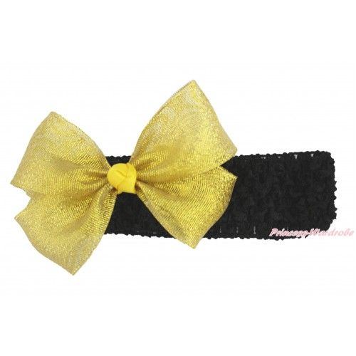 Black Headband Sparkle Gold Bow Hair Clip H1005