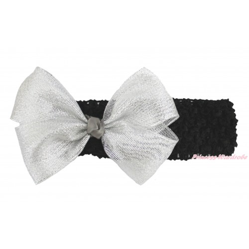 Black Headband Sparkle Silver Grey Bow Hair Clip H1006