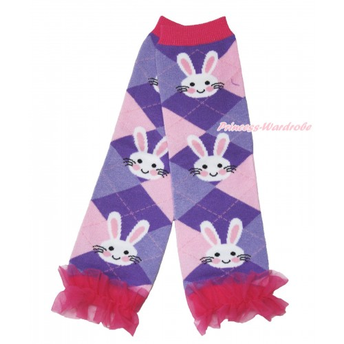 Easter Newborn Baby Rabbit Purple Pink Leg Warmers Leggings & Hot Pink Ruffles LG289