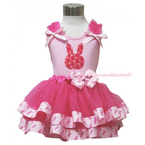 Easter Light Pink Tank Top Hot Pink Ruffles Light Pink White Dots Bow & Hot Pink Rosettes Rabbit Print & Rabbit Bow Hot Pink Rabbit Trimmed Pettiskirt M625