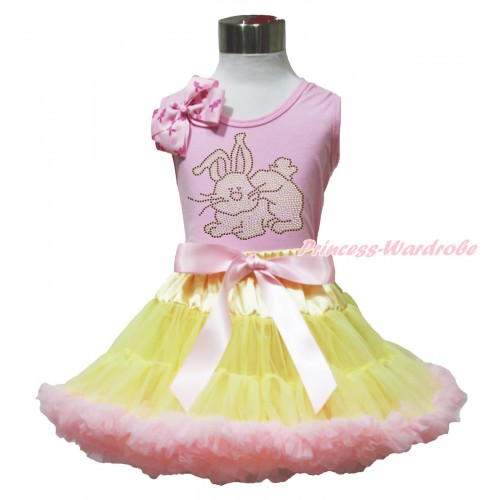 Easter Light Pink Tank Top Pink Rabbit Bow & Sparkle Rhinestone Grey Rabbit Print & Yellow Light Pink Pettiskirt M629