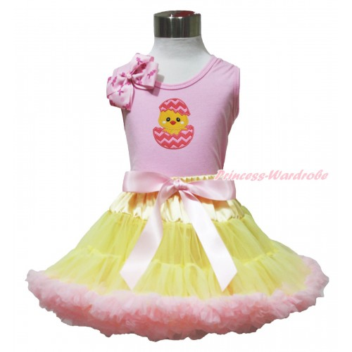 Easter Light Pink Tank Top Pink Rabbit Bow & Chick Egg Print & Yellow Light Pink Pettiskirt M631