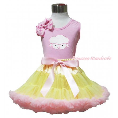 Easter Light Pink Tank Top Pink Rabbit Bow & Sheep Print & Yellow Light Pink Pettiskirt M632