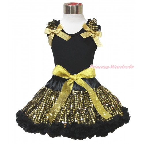 Black Tank Top Gold Sequins Ruffles Sparkle Gold Bow & Black Gold Bling Sequins Pettiskirt MG1522