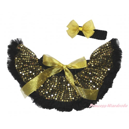 Black Gold Sparkle Bling Sequins New Born Pettiskirt N251