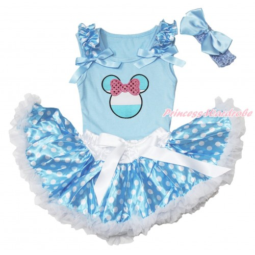 World Cup Light Blue Baby Pettitop Light Blue White Dots Ruffles Light Blue Bows & Sparkle Light Pink Bow Argentina Minnie Print & Light Blue White Dots Newborn Pettiskirt NG1661