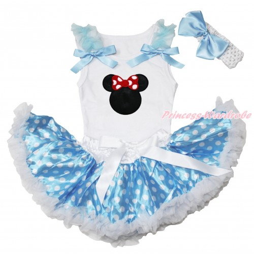 White Baby Pettitop Light Blue Ruffles & Bows & Red Minnie Print & Light Blue White Dots Newborn Pettiskirt NN266
