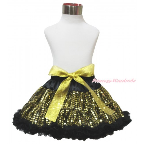 Black Gold Sparkle Bling Sequins Full Pettiskirt P201