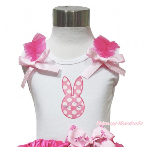 Easter White Tank Top Hot Pink Ruffles Ligth Pink White Dots Bow & Light Pink White Dots Rabbit Print TB1072