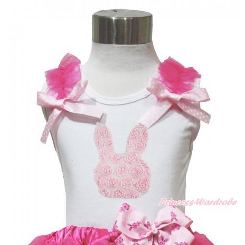 Easter White Tank Top Hot Pink Ruffles Ligth Pink White Dots Bow & Light Pink Rosettes Rabbit Print TB1073