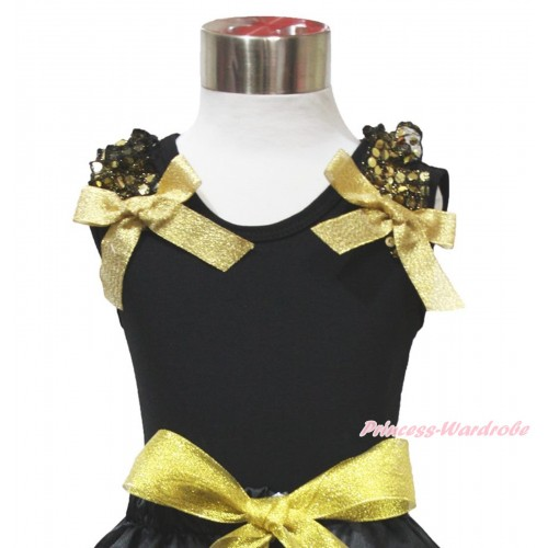 Black Tank Top Gold Sequins Ruffles Sparkle Gold Bow TB1075