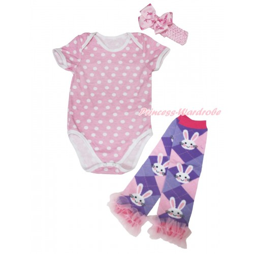 Light Pink White Dots Baby Jumpsuit & Light Pink Headband Rabbit Silk Bow & Light Pink Ruffles Rabbit Leg Warmer Set TH562