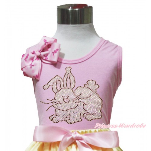 Easter Light Pink Tank Top Pink Rabbit Bow & Sparkle Rhinestone Grey Rabbit Print TP258