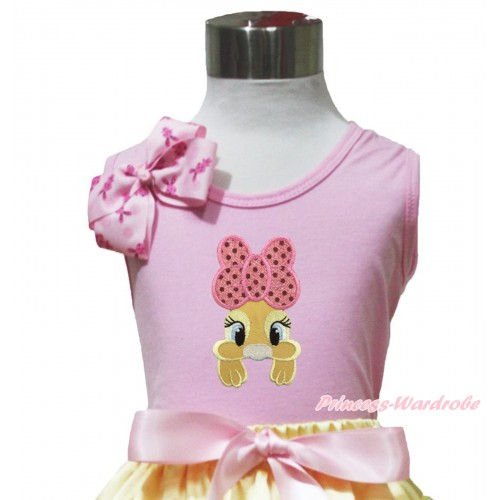 Easter Light Pink Tank Top Pink Rabbit Bow & Pink Bow Bunny Rabbit Print TP259