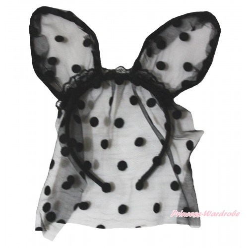 Easter Black Dots Bunny Rabbit Ear Gauze Veil Headband H988
