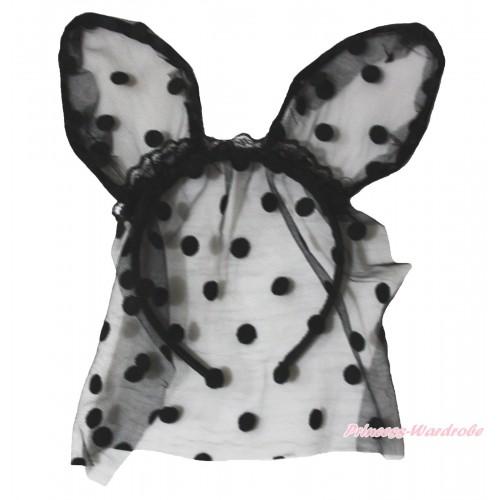 Easter Black Dots Bunny Rabbit Ear Gauze Veil Headband H988