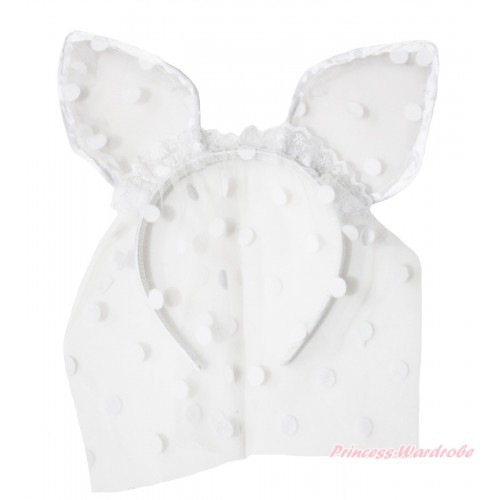 Easter White Dots Bunny Rabbit Ear Gauze Veil Headband H989
