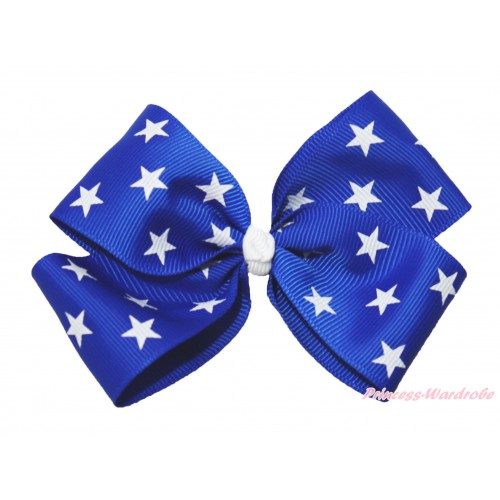 American's Birthday Royal Blue White Patriotic American Star Ribbon Bow Hair Clip H990