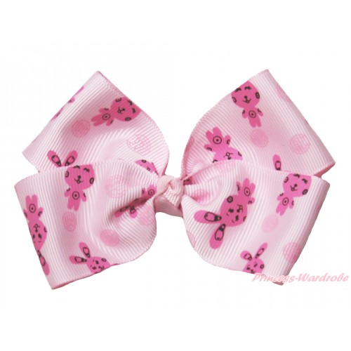 Easter Pink Rabbit Ribbon Bow Hair Clip H991