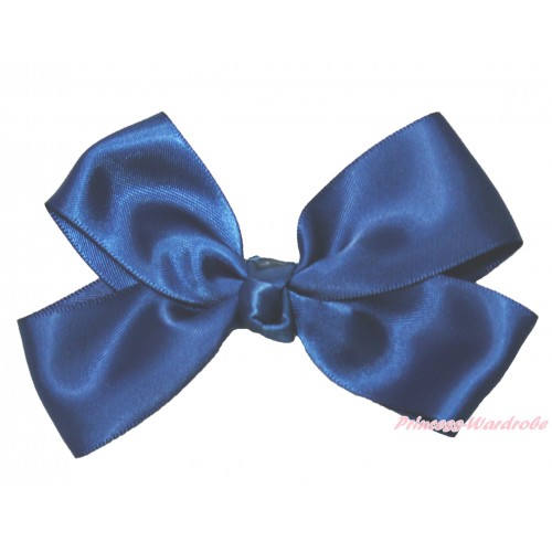 Navy Blue Ribbon Bow Hair Clip H992