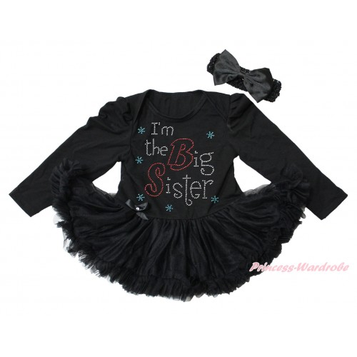 Black Long Sleeve Bodysuit Pettiskirt & Sparkle Rhinestone I'm The Big Sister Print JS4345
