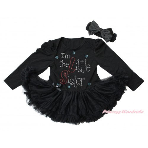 Black Long Sleeve Bodysuit Pettiskirt & Sparkle Rhinestone I'm The Little Sister Print JS4346
