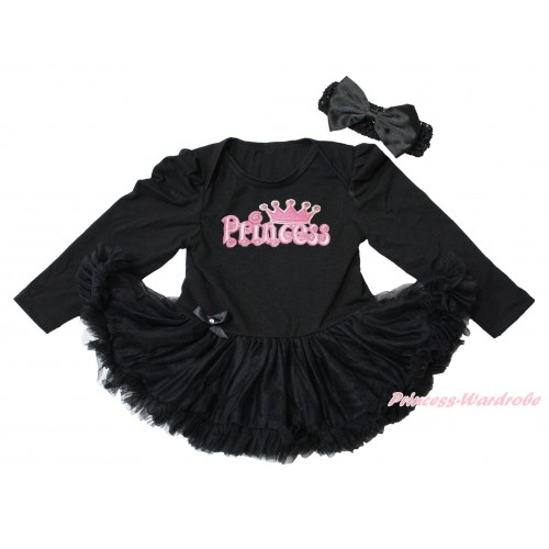 Black Long Sleeve Bodysuit Pettiskirt & Princess Print JS4350