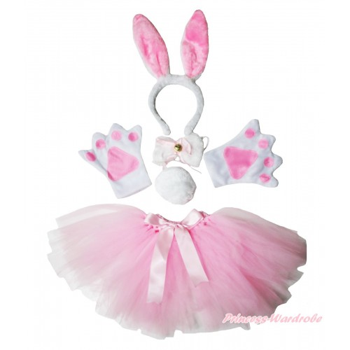 Easter Rabbit 4 Piece Set in Headband, Tie, Tail , Paw & Light Pink Ballet Tutu & Bow PC083