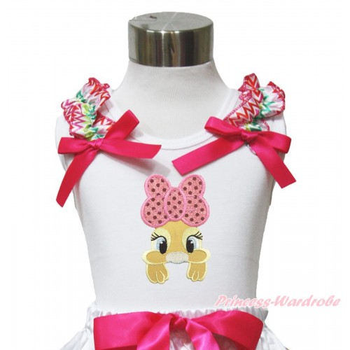 Easter White Tank Top Rainbow Chevron Ruffles Hot Pink Bow & Pink Bow Bunny Rabbit Print TB1050