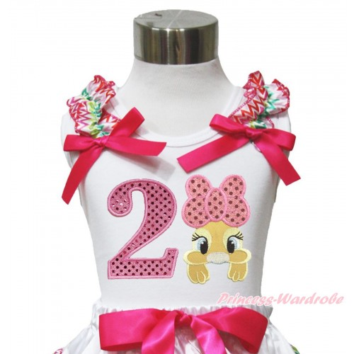 Easter White Tank Top Rainbow Chevron Ruffles Hot Pink Bow & 2nd Sparkle Light Pink Birthday Number Pink Bow Bunny Rabbit TB1052