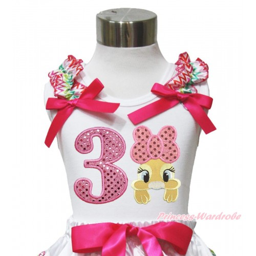 Easter White Tank Top Rainbow Chevron Ruffles Hot Pink Bow & 3rd Sparkle Light Pink Birthday Number Pink Bow Bunny Rabbit TB1053