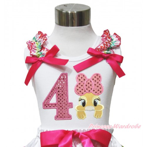 Easter White Tank Top Rainbow Chevron Ruffles Hot Pink Bow & 4th Sparkle Light Pink Birthday Number Pink Bow Bunny Rabbit TB1054
