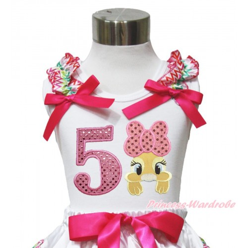 Easter White Tank Top Rainbow Chevron Ruffles Hot Pink Bow & 5th Sparkle Light Pink Birthday Number Pink Bow Bunny Rabbit TB1055