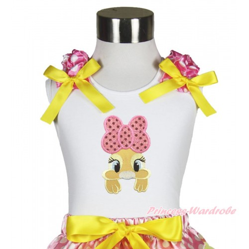 Easter White Tank Top Hot Pink White Dots Ruffles Yellow Bow & Pink Bow Bunny Rabbit Print TB1056