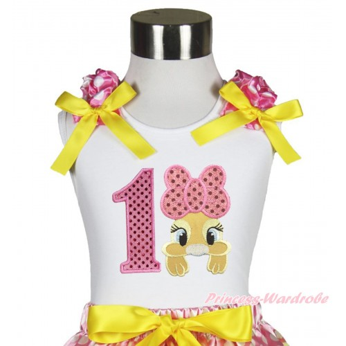 Easter White Tank Top Hot Pink White Dots Ruffles Yellow Bow & 1st Sparkle Light Pink Birthday Number Pink Bow Bunny Rabbit TB1057