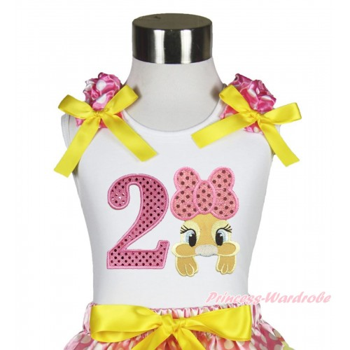 Easter White Tank Top Hot Pink White Dots Ruffles Yellow Bow & 2nd Sparkle Light Pink Birthday Number Pink Bow Bunny Rabbit TB1058