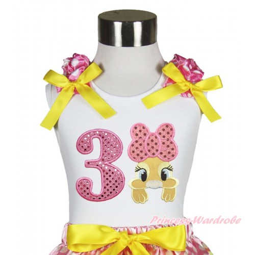 Easter White Tank Top Hot Pink White Dots Ruffles Yellow Bow & 3rd Sparkle Light Pink Birthday Number Pink Bow Bunny Rabbit TB1059