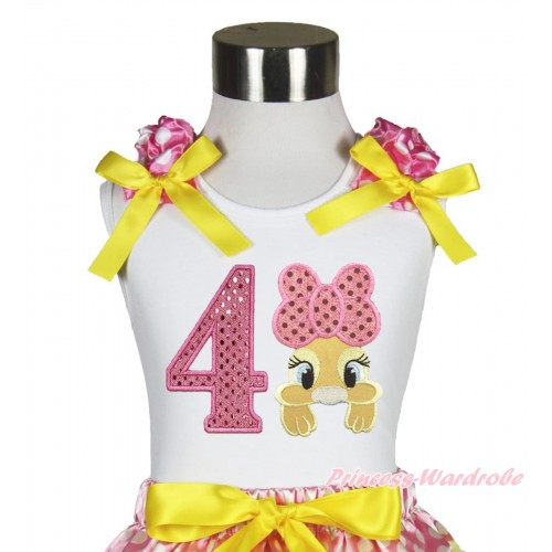 Easter White Tank Top Hot Pink White Dots Ruffles Yellow Bow & 4th Sparkle Light Pink Birthday Number Pink Bow Bunny Rabbit TB1060