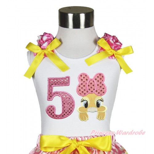 Easter White Tank Top Hot Pink White Dots Ruffles Yellow Bow & 5th Sparkle Light Pink Birthday Number Pink Bow Bunny Rabbit TB1061