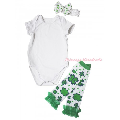 St Patrick's Day White Baby Jumpsuit & White Headband Clover Silk Bow & Kelly Green Ruffles Clover White Leg Warmer Set TH555